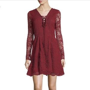 Lovers + Friends Mercury Lace-Up Mini Dress in Red